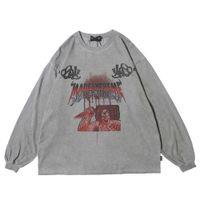 Palhaço jóia gráfico gótico tshirt punk goth goth 2020 primavera manga comprida tops grandes dimensões camiseta homens roupas hip hop streetwear x1214