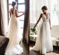2021 Summer Wedding Dresses V Neck Backless Sweep Train A Line Appliques Lace Beads Garden Beach Boho Country Bridal Gowns robes de mariee Dress