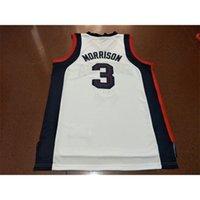Старинные 21ss Blue White Gonzaga Бульдоги Адам Моррисон # 3 Полная вышивка Размер S-4XL или пользовательское имя или номер колледжа