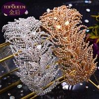 Wedding Tiara Wide Hair Band Soft Silk Baroque Beautiful Crown Bride Ladies Jewelry Diamond Crowns Bride Wedding Accessories Crown Retro Palace Crown