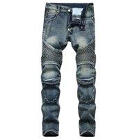 Homme de Jeans Homme Denim Designer moto moto droite pour automne printemps Punk Rock Streetwear Streetwear Pantalon de garde au genou