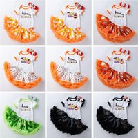 kids Clothing Sets girls Halloween outfits Infant Letter Romper Tops+pumpkin ghost print Tutu lace skirts+Headband 3pcs set summer fashion baby Clothes