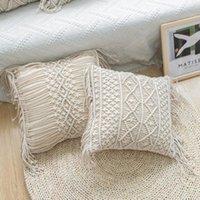 Cushion Decorative Pillow Hand-woven Macrame Cushion Covers Pillowslip 100% Cotton Pillowcase Geometry Bohemia Style Cover Boho Home Decor 4