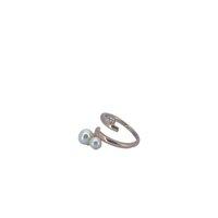 Uue schmuck heißer verkauf perle weiße kubische zirkonia reizende mode mädchen rose gold über kupfer ringe