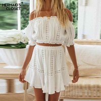 Casual Dresses Women Skirt Suits Summer White 2 Piece Set Off Shouder Cropped Tops Short A Line Female 2021 Beach Vacation Outfits