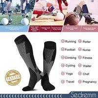 Calcetines para hombres 1/2/3/4/5/6/7 Pares de compresión Fit Vena Varices Fotografía de fútbol de fútbol 30mm Mujeres para correr Ciclismo Sock