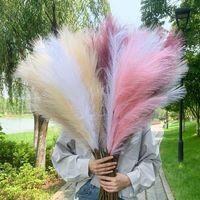 Dekoratif Çiçekler Çelenk 98 cm Bultrush Yapay Pampas Çim Reed Buket DIY Vazo Düğün Ev Bahçe Dekorasyon Tesisi Gerçek Touc