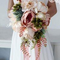 Wedding Flowers Romantic Bridal Bridesmaid Bouquet Waterfall Artificial Flower Fake Succulent Long Ribbon Retro Luxury Party