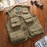 Men's Vests 2021 Mens Army Camo Waistcoat Multi-Pocket Travelers Fishing Pography Vest Outdoor