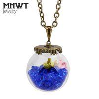 MNWT Señoras Crystal Seco Flower Botella de cristal Colgante Collar Popular Estilo amor Deseando Botellas de Drift Collares Colgantes