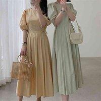 AIBEAUTYER Hohe Taille Koreanische Elegante Minimalistische Stil Vintage Plissee Wild Lady Long Kleid Frauen Sommerkleider 210527