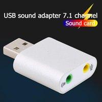 Ljudkort för bärbar dator PC-dator Virtual 7.1 USB Extern ljudadapterkort med 3,5 mm hörlurs mikrofonuttag