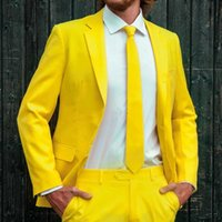 Men's Suits & Blazers Yellow Casual Prom For Men 2 Piece Groom Tuxedo Male Fashion Wedding Clothes Notched Lapel Jacket With Pants Arrival