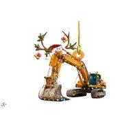 Carro de Natal Tag de madeira pingente artesanato criativo caminhão barco barco árvore de natal pendentes pingentes owde10971