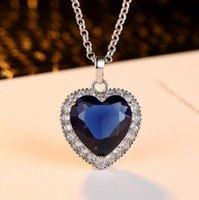 Colares pendentes Coração clássico Titanic Coração de oceano Colar para mulheres azul romântico CZ Chain Jóias de casamento