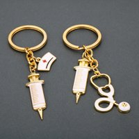 Women Nurse injector echometer charm key ring gold keychain hangbag hangs fashion jewelry will and sandy