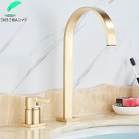 Shbshaimy spazzolato dorato rubinetto rubinetto singolo manico widespread lavello rubinetto bagno miscelatore tap wide beccuccio vaso caldo freddo acqua