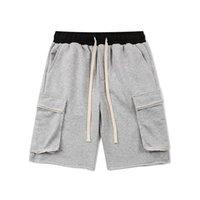 Graue schwarze baumwolle herunterschale shorts 2021 sommer hip hop elastische taille schweiß kurze männer streambekleidung jogger kurz
