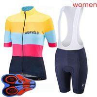 Estate Morvelo Team Donne Donne in bicicletta Jersey Set MTB Bycicle Abiti manica corta Bib Bib Shorts Suit Sport Uniform 032705