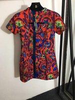 232 2021 Ücretsiz Kargo Yaz Elbise Flora Baskı Ekip Boyun Moda Bayan Elbise Üstü Diz Yayhui