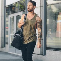 Men's Tank Tops Cotton Sleeveless Shirts Top Men Fitness Shirt Mens Singlet Bodybuilding Workout Gym Vest