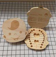 Baby Tooth Box Storage Bambini Risparmia latte Denti Denti Scatole di legno Boys Girls Dente Organizer Denti Caso Birthday Regalo di Natale Souvenir A122605