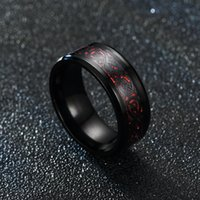 fashion band rings aristocratic blue red carbon fiber dragon pattern European and American