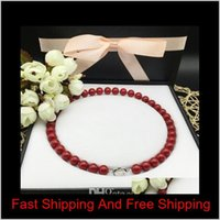10 mm Coral Red Pearl Fritter Necklace Profundo Mar Natural Shell Shell Beads Necklace Enviar Madre 925 Silver Buckle + Shone Necklace Box SL XHPZQ