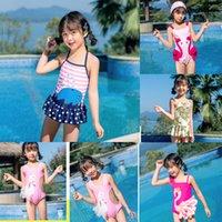 Aonihua verano bebé niñas niño traje de baño imprimir un traje de una pieza con falda rápidamente seco sin mangas traje de baño niños playa bikini Q0220
