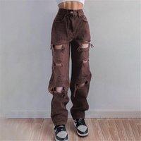 Women's Pants & Capris Jeans Women Denim Button Pockets Slim Large Size Brown Hole Trousers Baggy Chic Harajuku Daily Scratchs Wide Leg Stre