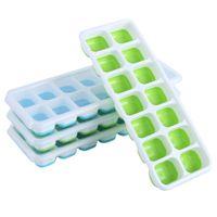 Eiswürfel-Tabletts Easy-Release-Silikon-flexible 14-Eis-Fächer mit Deckel BPA kostenlos für Cocktail-Getränke Whisky JK2103XB