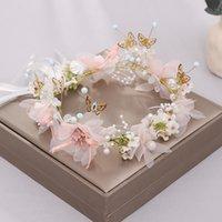 Romantische Frauen Stirnband Süße Schmetterling Blume Fee Kranz Haarband Partei Kopfschmuck Braut Hochzeit Schmuck Zubehör XH J0121