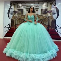 Mint Green Quinceanera Dresses Crystals Jewel Neck Sparkly Sequins Beaded Lace Appliqued Long Sleeves Custom Made Sweet 16 Birthday Party Prom Ball Gown vestidos