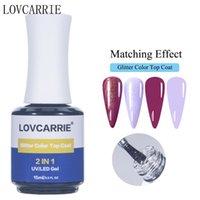 LovcArie 2 em 1 top coat glitter unha gel polonês 15ml sem tosto pegajoso brilho brilhante manicure vernis laser primer laca