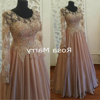 Luxury Crystals Beaded Plus Size Mother of the Bride Dresses 2020 A Line Vintage Lace Long Sleeves Cheap Formal Evening Party Gow