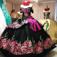 Vintage preto 3d flores florais 2021 off ombro charro barato quinceanera bairro formal vestido bola vestido mexicano plus size vestidos 15 anos