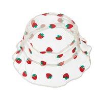 NewKids Gauze Seau chapeaux dentelle respirante large chapeau de bretelles d'été bouchon de broderie de fleur d'été