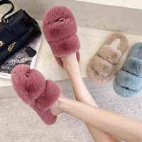 Slippers Winter Women Faux Fur Home Cozy Furry Slides Comfortable Open Toe Designer Fluffy Plush Warm House Shoes#f3