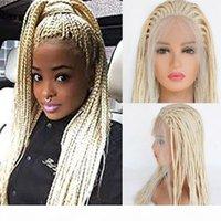 Örgülü Dantel Ön Peruk Ile Bebek Saç 613 Sarışın Saç Kadınlar Için Sentetik Isıya Dayanıklı Uzun Örgüler Peruk Tutkalsız Yarım El Bağlı