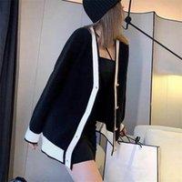 Женский свитер Designsweaterweater Высокое качество пальто Свободные вязаные черно-белые увеличенные письма мода кардиган досуг веснандский осенний стиль 2021