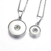 Collar de joyería de botón de acero inoxidable Colgante colgante con cadena de enlace FIT 18mm12mm Snap Newlyace Mujeres 2290 Y0301