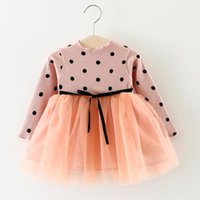 Fashion Summer cute kids Girls Dress Ribbon Classic child baby Lace Net yarn Prom skirt Patchwork Dresses Infant Birthday gift children Clothes