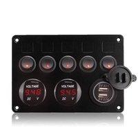 5 Gang On-off Rocker Switch Panel Doble USB Cargador LED Voltímetro 12-24V para barco de coche Marine RV Camión