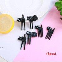 Animale domestico carino mini bento segno cartone animato per bambini fruit fork set decorazione di plastica creativa 7 stili HHD7448