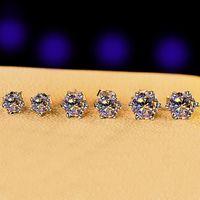 Shining S925 Ayar Gümüş Saplama Küpe Bling Beyaz Zirkon Elmas Taş Küpe 18 K Altın Kaplama Takı Toptan 1272 B3