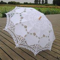 Fans & Parasols Sun Umbrella Cotton Embroidery Bridal White Ivory Battenburg Lace Parasol Decorative For Wedding