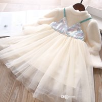 Zimowe Dziewczyny Księżniczka Dress 2021 Wełna Patchwork Grube Cekiny Gaza Kids Party Sukienki Dzieci Długie Rękaw Odzież Dorywczo S1697