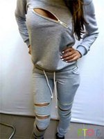 Women's Hoodies & Sweatshirts 2021 Autumn And Winter Trend Sexy Long-sleeved Zipper Leisure Suit Black Gray Sweatshirt Tracksuit For Women