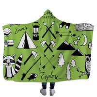 Camper Picnic Hooded Blankets for kids Soft Warm Camping Car Throw Blanket with Hood Soft warm Sherpa Fleece Blankets Wrap GWE5209