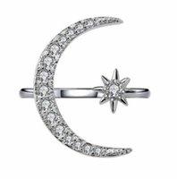 Jewelryluxious gemstones naturais lua e estrela ajustável glod branco glod 925 sterling sier romântico diamante jóias anéis de banda drop del